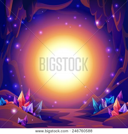 Magic Cave. Fairy Landscape Of A Cave With Crystals And Mystery Lights. Fantasy Background. Vector I