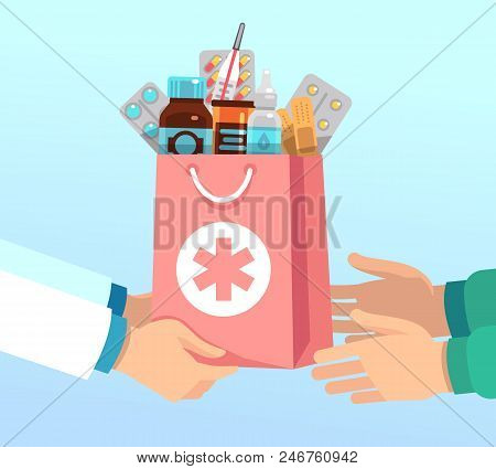 Pharmacist Gives Bag With Antibiotic Drugs According To Recipe To Hands Of Patient. Pharmacy Vector