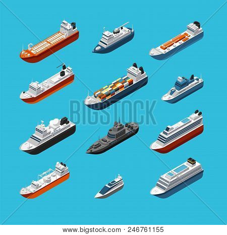 Isometric 3d Military And Passenger Ships, Boat And Yacht Vector Sea Transportation And Shipping Ico