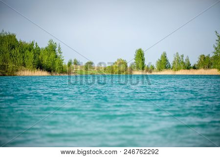 Image Of Picturesque Hilly Terrain And River In Summer Day