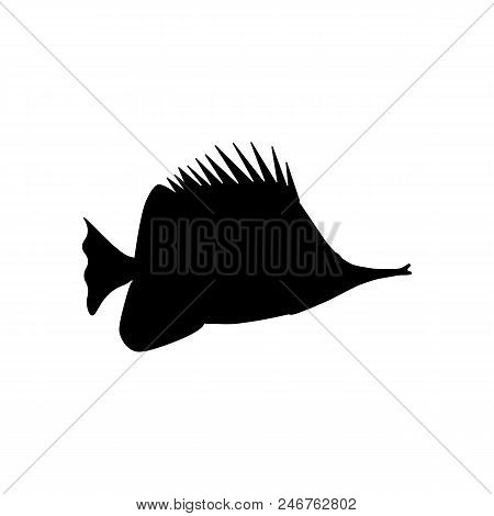 Yellow Longnose Butterflyfish Silhouette On The White Background. Vector Illustration