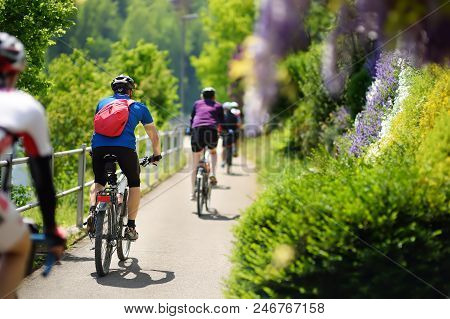 Sportive Middle Age Man Cycling In Sunny Park In Hot Summer Day. Nice Sport For Active People. Healt