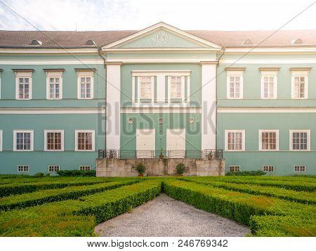 Park And Renaissance Chateau In Dacice, Czech Republic.