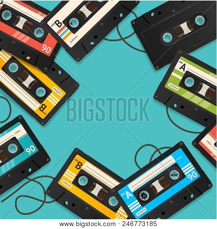 Audio Cassette Tape Background Card On A Blue Vintage Obsolete Equipment Eighties Symbol Of Musical.