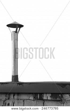 Old aged weathered shack chimney, grunge zinced coat iron smoke pipe, steel zinc, black ruberoid bitumen roof roofing rooftop, grungy white grey calcium silicate bricks hut wall, large detailed isolated vertical closeup, textured brick pattern detail. poster