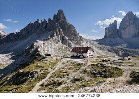 Italy, Dolomites - September 22, 2014 - Landscape With A Refuge In Dolomites Mountains
