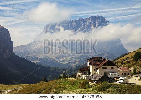 Italy, Dolomites - September 22, 2014 - Refuge In Dolomites Mountains