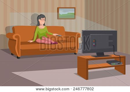 Women Watching Tv On Sofa. Evening Watching Television Series. Interior Of The Room With Tv And Peop