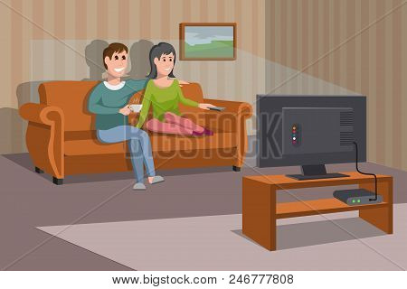 Big Happy Family Watching Tv On Sofa. Man With Coffee Cup. Evening Watching Television Series. Inter