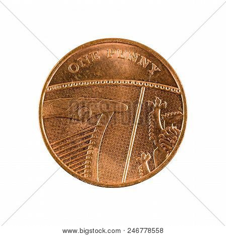 One British Penny Coin (2009) Isolated On White Background