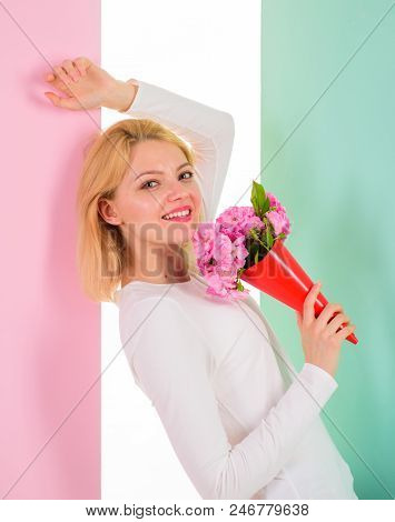 Lady Happy Received Flowers From Secret Admirer. Woman Smiling Dreamy Try Guess Who Fall In Love Wit