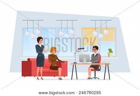 Girls, Partners, Brainstorming, Discussion Of Problem With Colleagues At Work, In Office Room, Rest.