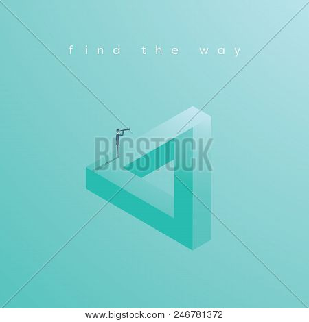 Finding Solution Business Vector Concept With Businessman Standing On Impossible Geometric Shape. Sy