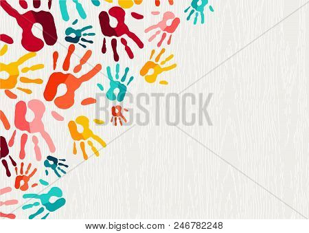 Color Handprint Background Concept, Human Hand Print Illustration For Kid Education, School Learning
