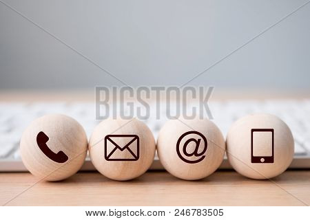 Wood Sphere Symbol Telephone, Mail, Address And Mobile Phone. Website Page Contact Us Or E-mail Mark