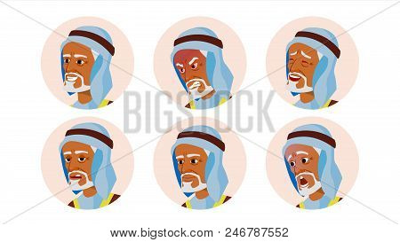 Arab Man Avatar People Vector. Arab, Muslim. Comic Emotions. Flat Handsome Manager. Happy, Unhappy.
