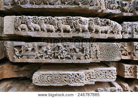 Episode From Mahabharata. From Left Karna-arjuna War, Abhimanyu Entering Chakravyuha Or Padmavyuha,