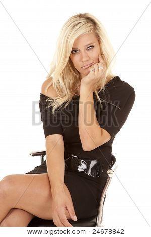 Woman Black Dress Bored