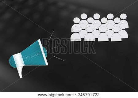 Social Media Brand Ambassadors Conceptual Illustration: Megaphone Diffusing Messages To An Audience