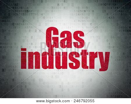 Industry Concept: Painted Red Word Gas Industry On Digital Data Paper Background