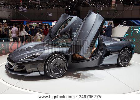 GENEVA, SWITZERLAND - MARCH 17, 2018: Rimac super sports car showcased at the 88th Geneva International Motor Show.