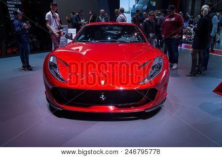 GENEVA, SWITZERLAND - MARCH 17, 2018: Ferrari showcased at the 88th Geneva International Motor Show.