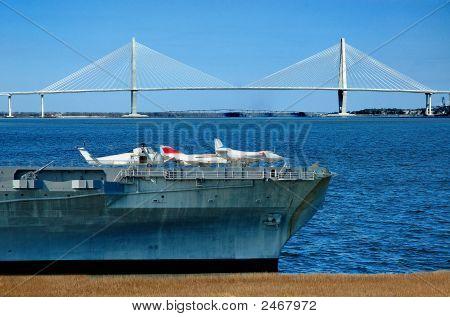 Yorktown With Ravenel Bridge In Background