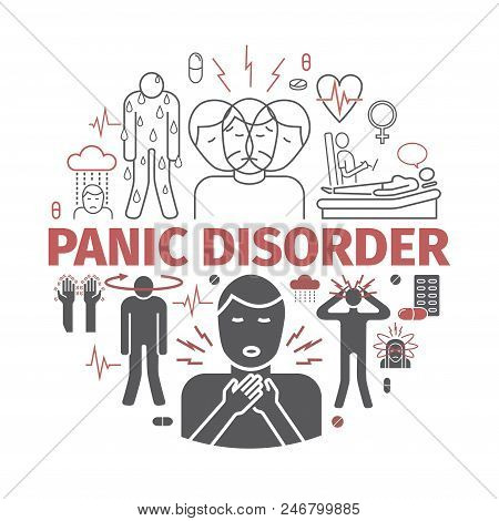 Panic Disorder Line Icon Infographic. Vector Sign For Web Graphics, Magazines, Brochures