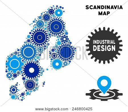 Repair Service Scandinavia map collage of cogs. Abstract territorial plan in blue color tinges. Vector Scandinavia map is shaped with cogs. Concept of tuning service. poster