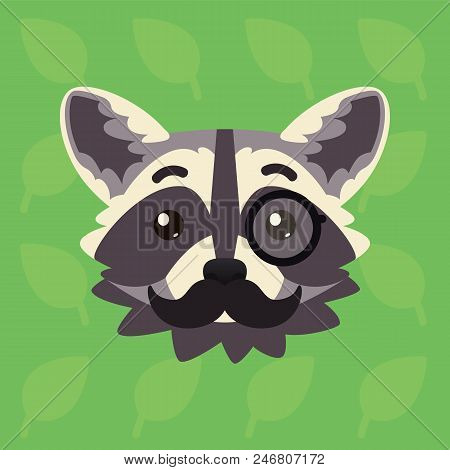 Racoon Emotional Head. Vector Illustration Of Cute Coon With Monocle And Moustache Shows Intelligent