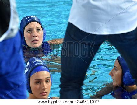 Budapest, Hungary - Jul 16, 2017. The Hungarian Women Waterpolo Team (antal Dora, Szilagyi Dorottya,