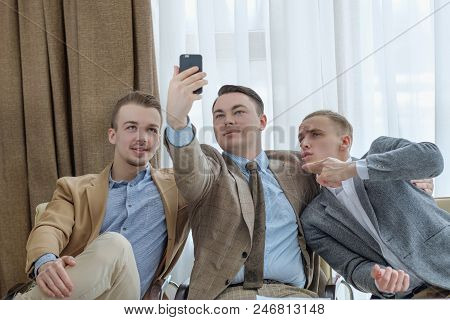 Selfie Time. Social Network Addiction. Life Oversharing Lifestyle. Business Men Taking Photos Of The