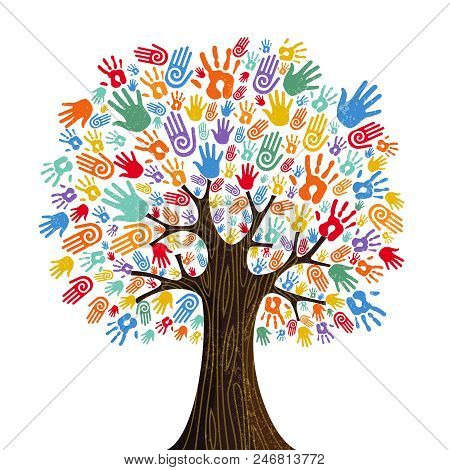 Tree With Colorful Human Hands Together. Community Team Concept Illustration For Culture Diversity,