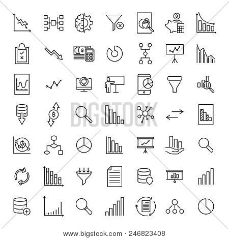 Premium Set Of Analysis Line Icons. Simple Pictograms Pack. Stroke Vector Illustration On A White Ba