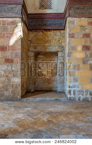 Recessed Frames In An Old Stone Bricks Wall, Sultan Qalawun Mosque, Medieval Cairo, Egypt