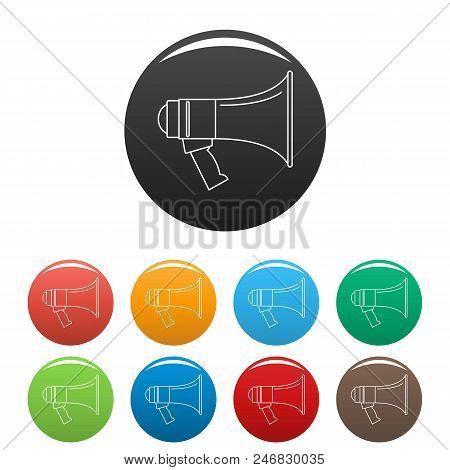 Portable Megaphone Icon. Outline Illustration Of Portable Megaphone Vector Icons Set Color Isolated