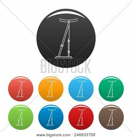 Telegraph Pole Icon. Outline Illustration Of Telegraph Electric Pole Vector Icons Set Color Isolated