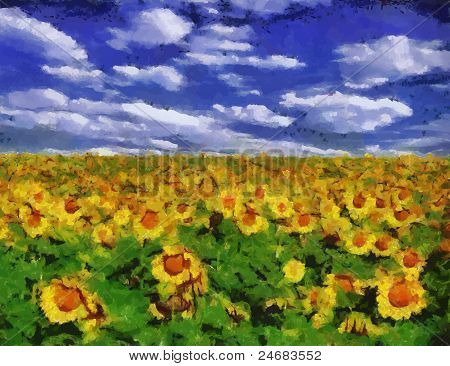Vector Sunflower Field Under Blue Sky Background Painting