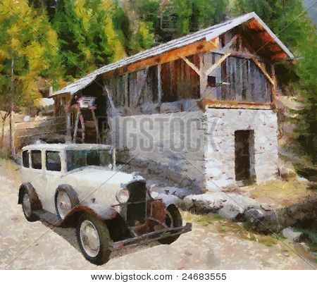 Vector Vintage Cars Oil Painting