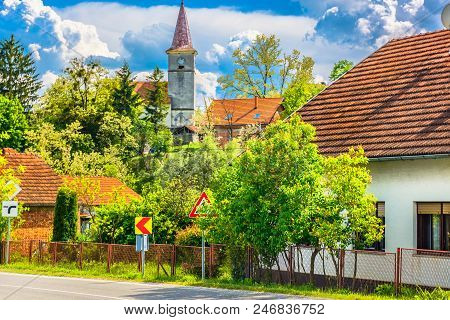 Scenic View At Desinic Picturesque Village In Zagorje Region, Northern Croatia.