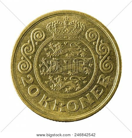 20 Danish Krone Coin (1991) Obverse Isolated On White Background