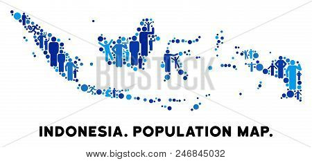 Vector Population Indonesia Map. Demography Abstraction Of Indonesia Map Combined Of Persons With Va