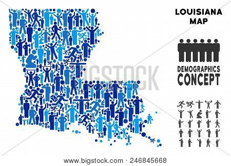 Vector Population Louisiana State Map. Demography Abstraction Of Louisiana State Map Composed Of Hum