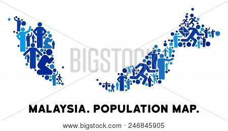 Vector Population Malaysia Map. Demography Composition Of Malaysia Map Composed Of Crowd With Variab