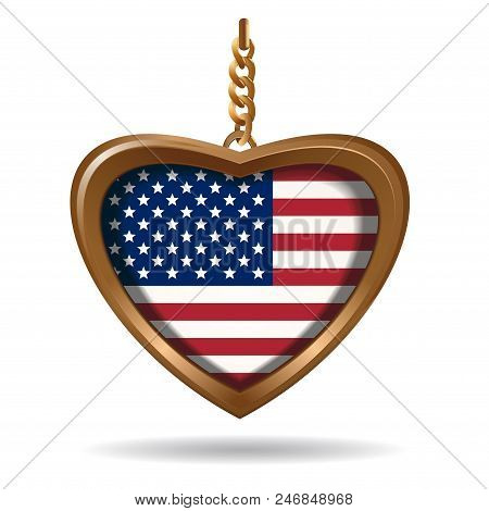 Gold Medallion In The Shape Of A Heart With Us Flag. United States Of America Flag Inside. Vector Il