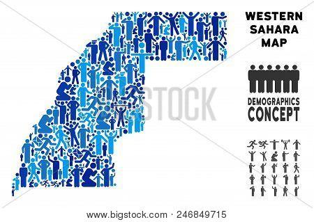 Vector Population Western Sahara Map. Demography Abstraction Of Western Sahara Map Combined Of Perso