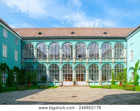 Courtyard With Glazed Windows Of Renaissance Chateau In Dacice, Czech Republic.