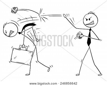 Cartoon Stick Drawing Conceptual Illustration Of Businessman Throwing Paper Balls On Another Man. Bu