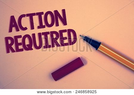 Conceptual hand writing showing Action Required. Business photo showcasing Important Act Needed Immediate Quick Important Task Words yellow background open blue yellow pen message letter poster