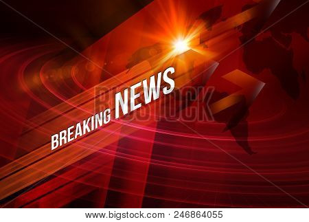 Graphical Breaking News Background With News Text, Red Theme Background With White Breaking News.